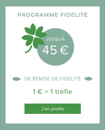 Jusqu'a 45€ de remise fidélité : 1€=1 trèfle